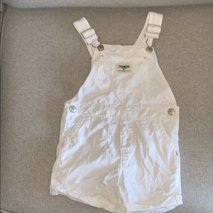 OshKosh B'Gosh white short overalls. Girls size 3T